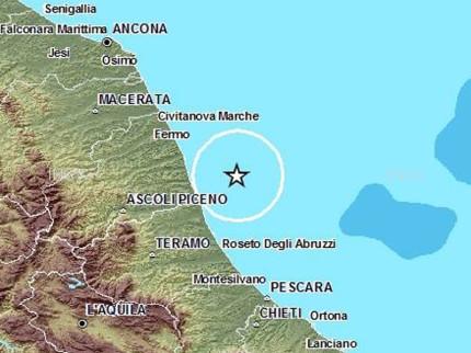 La mappa del terremoto del 13 agosto a largo di San Benedetto del Tronto. Fonte: ingv.it