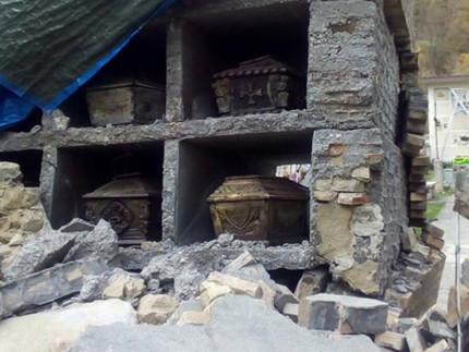 Il cimitero di Arquata del Tronto dopo il terremoto del 24 agosto 2016