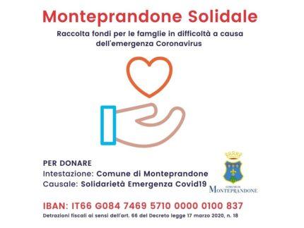 Conto corrente aperto a Monteprandone per fronteggiare il Coronavirus