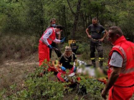 Ciclista soccorso a Montegallo